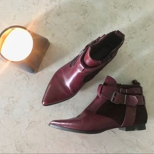 Matisse Jordy Calf Hair Burgundy Ankle Boots